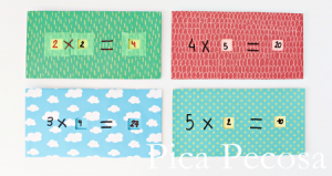 Tablas de multiplicar de cartón