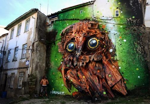 Arte urbano con residuos